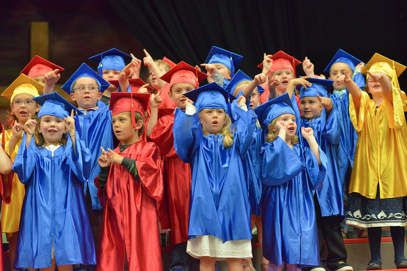 Justin Sheely | The Sheridan Press<br /> Graduates sing during the Children's Center annual Preschool Graduation Tuesday at Sheridan Wesleyan Church. The Children's Center had 35 students graduate, which is the largest group the preschool held.