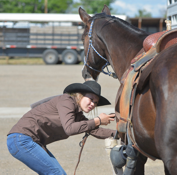 Justin Sheely | The Sheridan Press<br /> Dani Oedekoven of Gillette gets her horse ready for barrel racing during the Sheridan County high school rodeo Monday at the Sheridan County Fairgrounds.