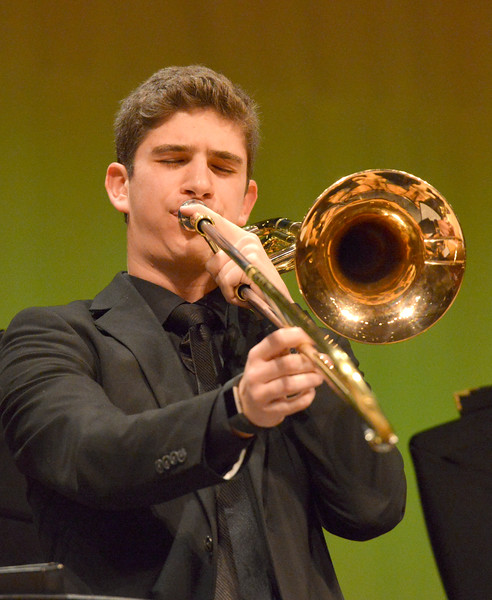 "Justin Sheely | The Sheridan Press<br /> Cooper Neavill plays a solo during the Band Department's ""All That Jazz"" concert night Thursday at the Sheridan High School Sue Henry Auditorium."