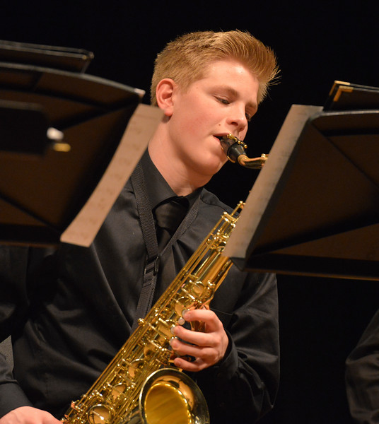 "Justin Sheely | The Sheridan Press<br /> Steen Avery plays the saxophone during the Band Department's ""All That Jazz"" concert night Thursday at the Sheridan High School Sue Henry Auditorium."