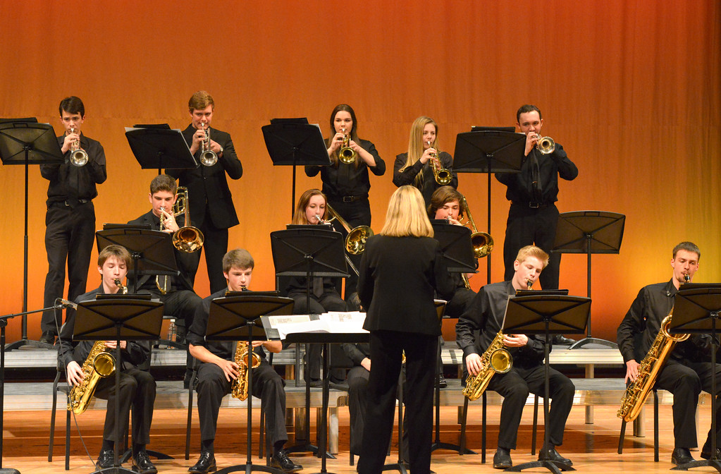 "Justin Sheely | The Sheridan Press<br /> Students play during the Band Department's ""All That Jazz"" concert night Thursday at the Sheridan High School Sue Henry Auditorium."