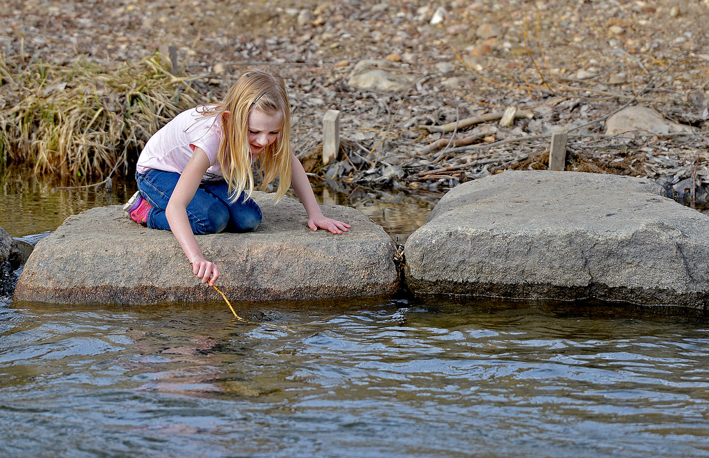 Justin Sheely | The Sheridan Press<br /> Seven-year-old Adeline Miller plays on the rocks in the Big Goose Creek Wednesday at Kendrick Park. Sheridan residents enjoyed the extra hour of sunshine and a high temperature of 74.