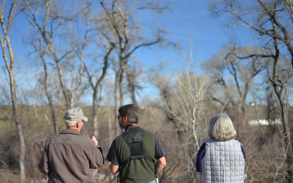 Justin Sheely | The Sheridan Press<br /> Bird watchers look over the Little Goose Creek during the Bighorn Audubon Society Birding at the Brinton Saturday in Big Horn.
