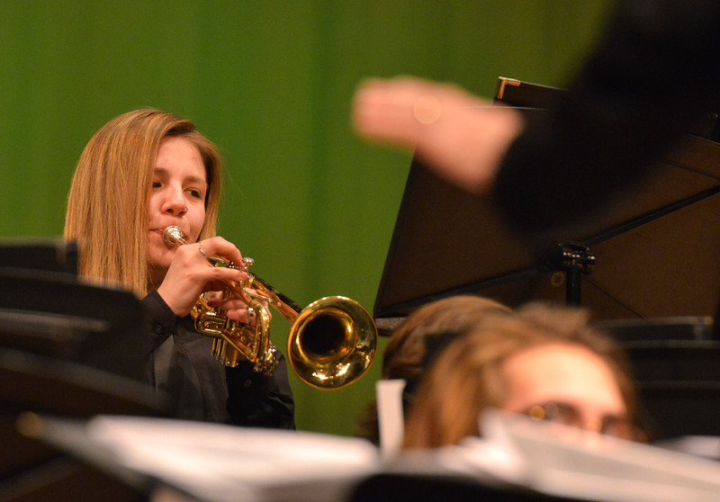 "Justin Sheely | The Sheridan Press<br /> Mallarie Apodaca plays the trumpet during the Band Department's ""All That Jazz"" concert night Thursday at the Sheridan High School Sue Henry Auditorium."