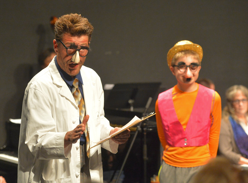 Justin Sheely | The Sheridan Press<br /> Dan Cole as Prof. Brainless, left, and Brodie Juergens as his assistant perform their comedy act during the New Vaudevillians variety show Wednesday in the Mars Black Box Theater at the WYO Theater. The next show is August 9 at 7:30 p.m. Tickets are available at the WYO Theater Box office.