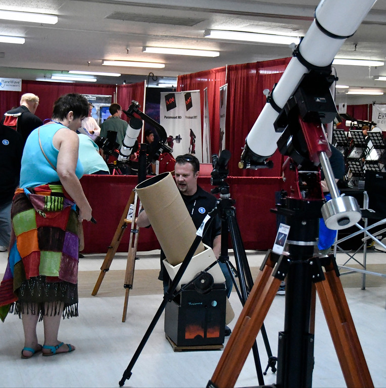 . Aug 18,2017.  Casper WY. Astrocon 2017 attendees check out all the latest in astronomy during the 2017 Astrocon convention Friday in Casper  Wy. The town is expecting over 100,000+ eclipse goers to invade the town as it lies in the middle of totality for a full 100% total eclipse for Monday Aug 21st. Photo by Gene Blevins/LA DailyNews/SCNG