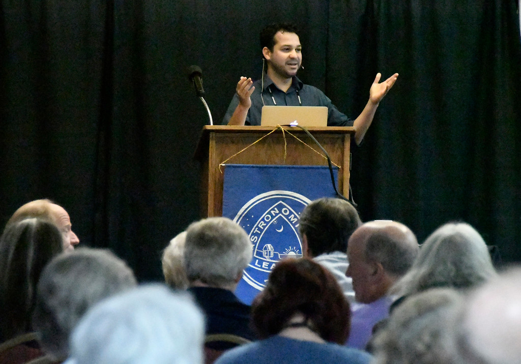 . Aug 18,2017.  Casper WY.  CSUN/JPL Dr. Wladimir Lyra speaks during the 2017 Astrocon convention Friday in Casper  Wy. The town is expecting over 100,000+ eclipse goers to invade the town as it lies in the middle of totality for a full 100% total eclipse for Monday Aug 21st. Photo by Gene Blevins/LA DailyNews/SCNG