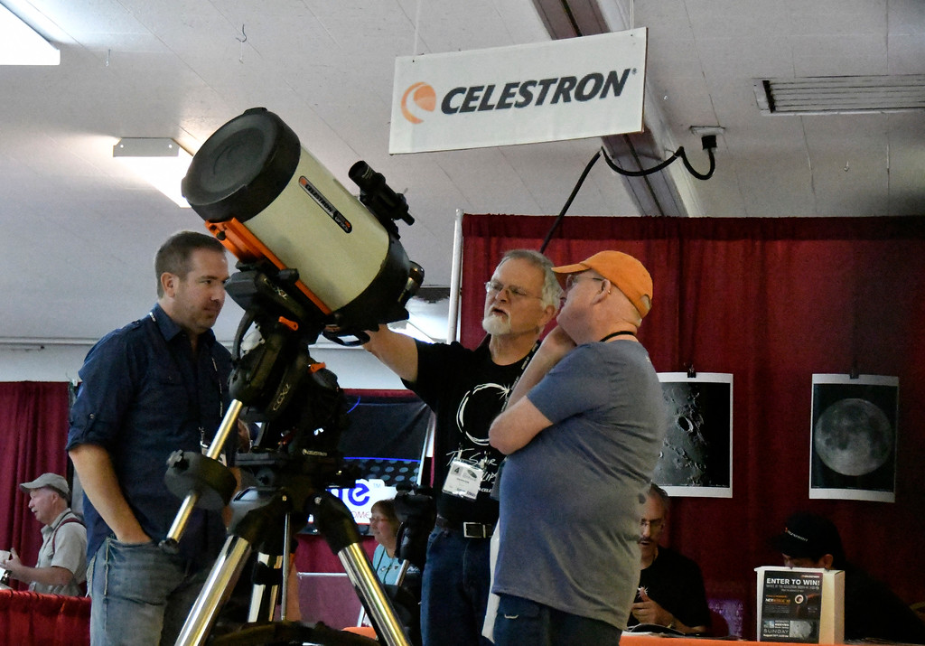 . Aug 18,2017.  Casper WY. Local SoCal Torrance company Celestron shows their high tech scopes during the 2017 Astrocon convention Friday in Casper  Wy. The town is expecting over 100,000+ eclipse goers to invade the town as it lies in the middle of totality for a full 100% total eclipse for Monday Aug 21st. Photo by Gene Blevins/LA DailyNews/SCNG