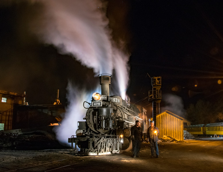 Night in the Durango rail yard with Nick and Chase.