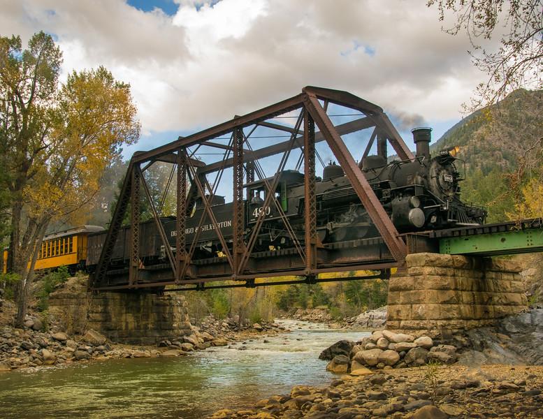 Southbound train crosses Tefft Bridge.