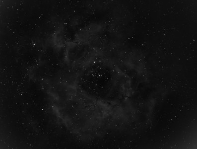 Rosette Nebula in H-alpha.  30 x 60sec Light Frames Captured.