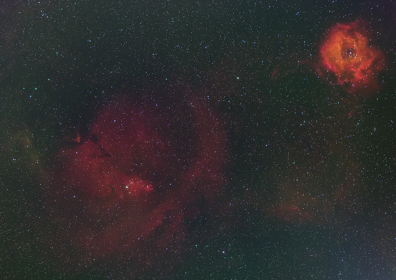 The Cone Nebula (NGC 2264) residing in the Christmas Tree Cluster , and the Rosette Nebula (NGC 2244)