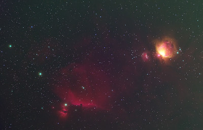 Flame (NGC2024) and Horsehead Nebula (Barnard 33) and the Orion Nebula (M42)