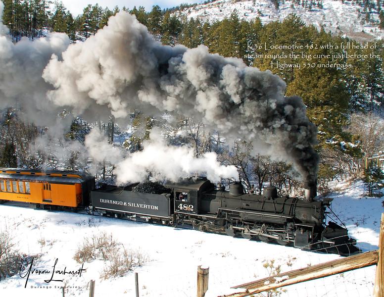 Locomotive 482 pulls a train to Cascade Canyon