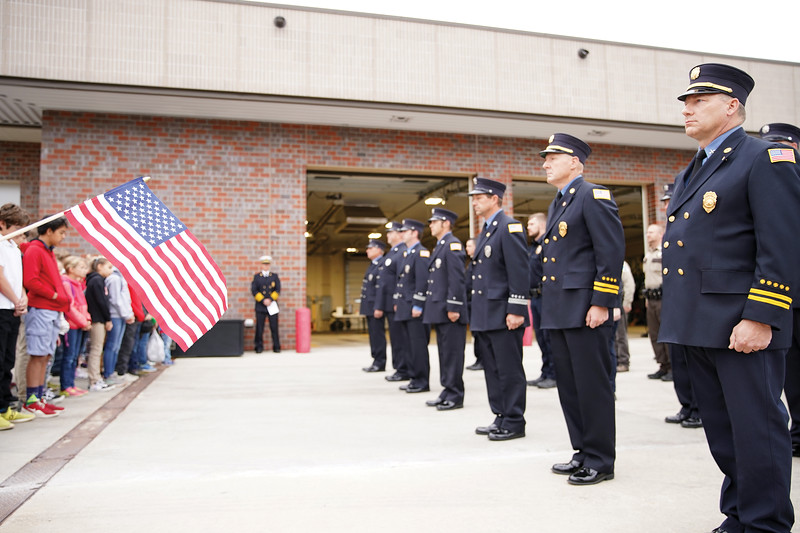 Matthew Gaston | The Sheridan Press<br>The Sheridan Fire-Rescue first responders, along with members of local fire services, law enforcement, emergency medical technicians and the U.S. Forest Service, gathered at the Sheridan County fire station to remember the sacrifice made by first responders and victims of the 9/11 terrorist attack 18 years ago.