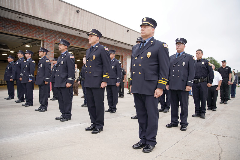 Matthew Gaston | The Sheridan Press<br>Sheridan County's first responders stand at attention in honor of the men and women who died during the attack on the World Trade Center in New York City 18 years ago.