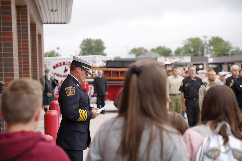 Matthew Gaston | The Sheridan Press<br>Sheridan-Fire Rescue Chief Gary Harnish addresses those gathered for the 9/11 remembrance ceremony.