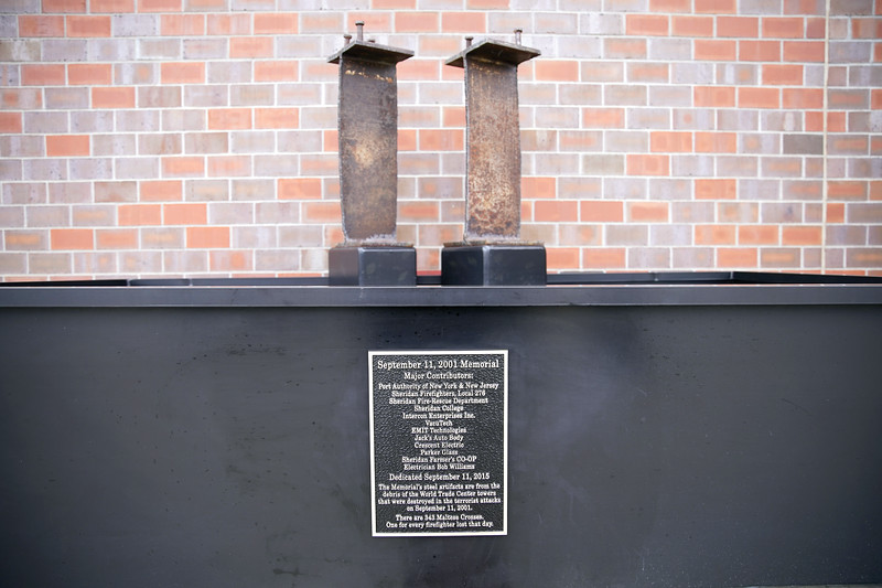 Matthew Gaston | The Sheridan Press<br>A memorial to the 343 firefighters who gave their lives during the terrorist attacks of September 11, 2001, sits in front of the Sheridan County Fire Department.