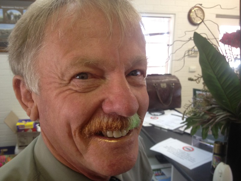 Prior to the big shave, Allan had his moustache dyed green and gold for the day. Oi Oi Oi!