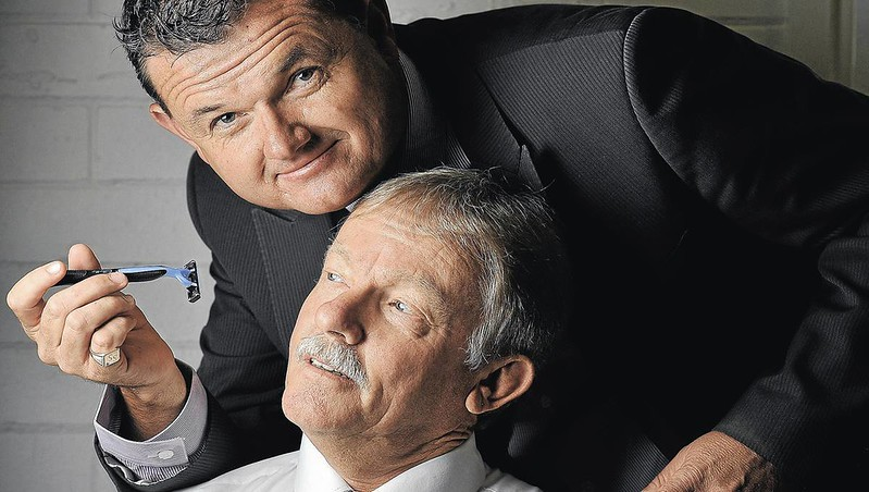 """Close Shave: MTC CEO Scott Sanbrook attempts to get an early look at Allan Hull's naked upper lip. Picture: Oscar Colman courtesy Daily Advertiser<br /> <br /> Read the full story here: <a href=""""http://www.dailyadvertiser.com.au/story/1221789/hull-to-face-mo-ment-of-truth/"""">http://www.dailyadvertiser.com.au/story/1221789/hull-to-face-mo-ment-of-truth/</a>"""