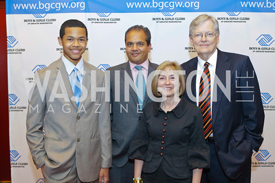 Ryan Washington, Neil Patel, Janie Kinney, Charles Reifel. Photo by Alfredo Flores. 26th Annual Tim Russert Congressional Awards Dinner. J.W. Marriott Hotel. May 25, 2011