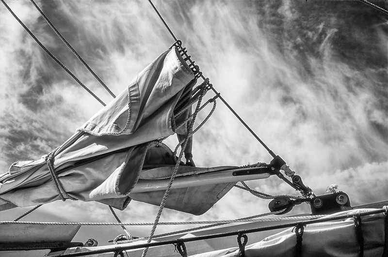 Furled Sail With Sky