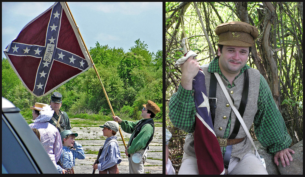 The honor of carying the 3rd Arkansas battle flag went to John Brennen, who enjoyed a short rest in the shade at the end of the parade.