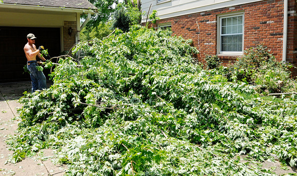 Don Knight | The Herald Bulletin<br /> Storm damage on Mapelwood Avenue.