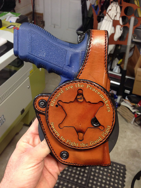 Brown holster with Gold embossing