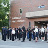 Ashleigh Fox | The Sheridan Press<br> First responders from several agencies stand at attention during the 9/11 ceremony at Sheridan Fire-Rescue Department Tuesday, Sept. 11, 2018.
