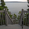 Stairs down to the shore at Bass Harbor Lighthouse.