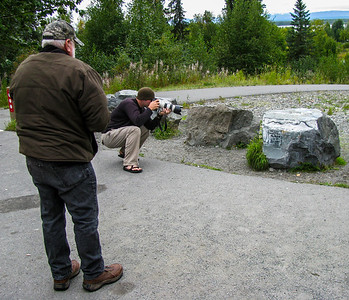 The Talkeetna Rock, before you get into town, Sonny watching Ryan shoot 2009