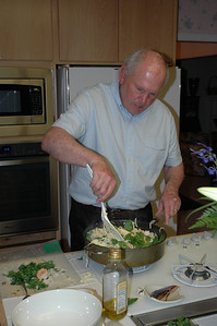 Bill White combines the shrimp, pasta, and basil