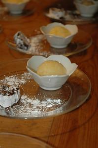 "Chocolate ""salami"" and meyer lemon granita"