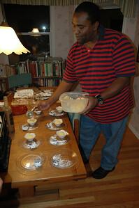 "Rudy Ford plates chocolate ""salami"" and meyer lemon granita"