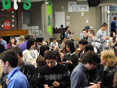 Students enjoy celebratory Founders' Day cake after assembly