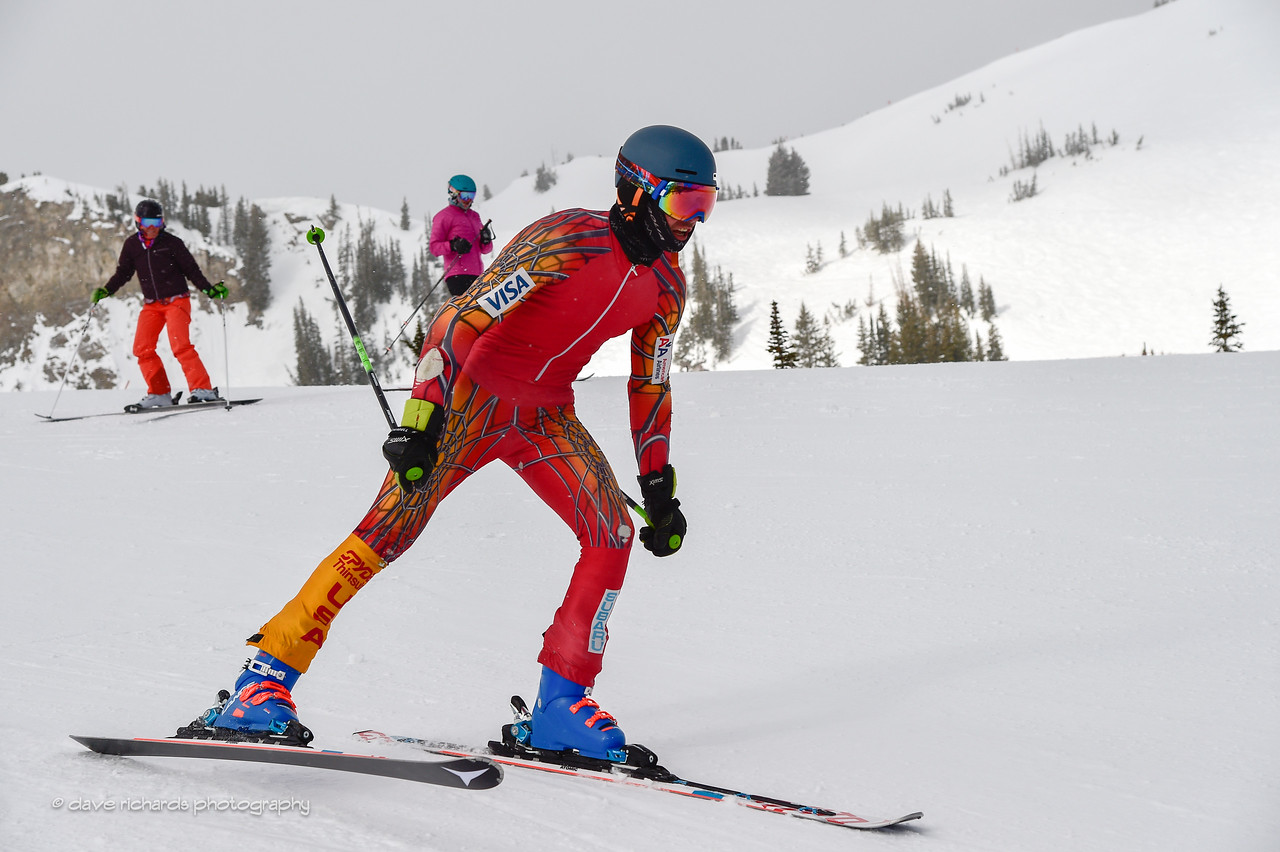 Charging out of the start gate, 2017 Alta Town Race - GS#8 (Photo by Dave Richards, daverphoto.com)