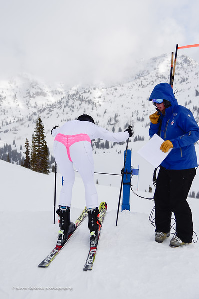 Costumes are encouraged at the Alta Town Races so Andrew Walter, Pinck Tacos Team, getting his thong on. 2017 Alta Town Race - GS#8 (Photo by Dave Richards, daverphoto.com)2017 Alta Town Race - GS#8 (Photo by Dave Richards, daverphoto.com)