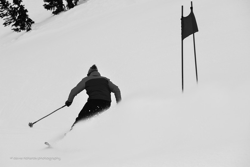 Flat light, bad viz makes for good black & white photos, 2017 Alta Town Race - GS#8 (Photo by Dave Richards, daverphoto.com)