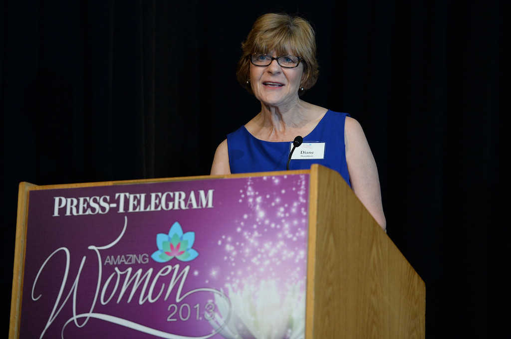 . Diane Donaldson accepts the business/ entrepreneur category award at the Press Telegram Amazing Women 2013 Gala in Lakewood, CA. on Wednesday, November 13, 2013. (Photo by Sean Hiller/Press Telegram).