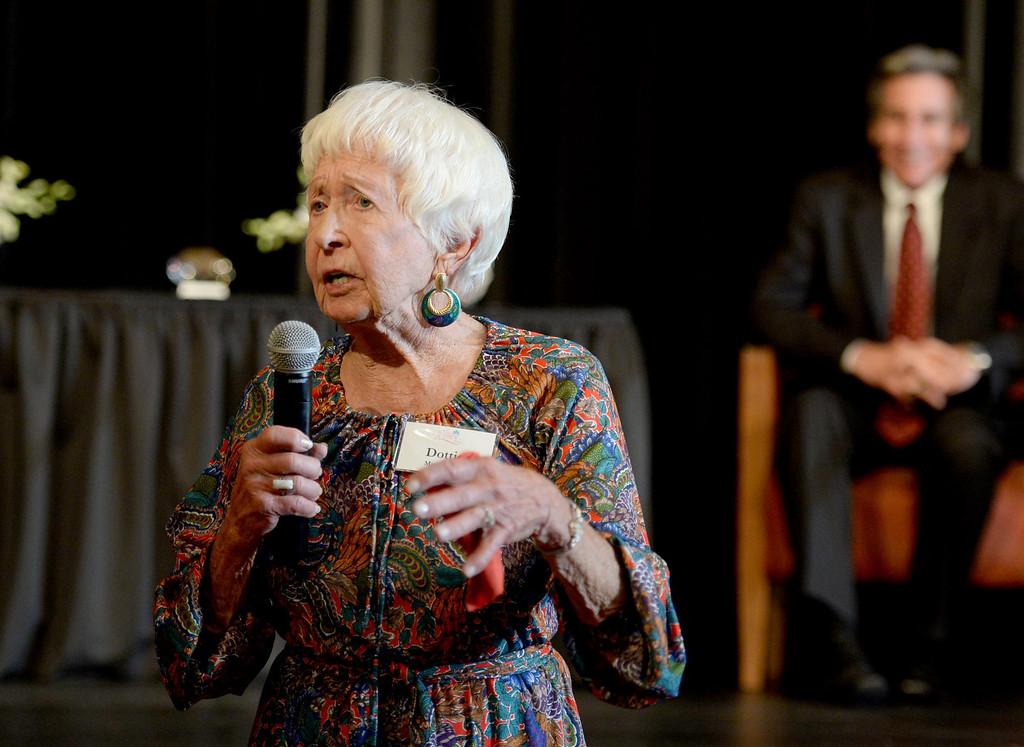 . Dottie May Frazier receives the lifetime achievement award at the Press Telegram Amazing Women 2013 Gala in Lakewood, CA. on Wednesday, November 13, 2013. (Photo by Sean Hiller/Press Telegram).