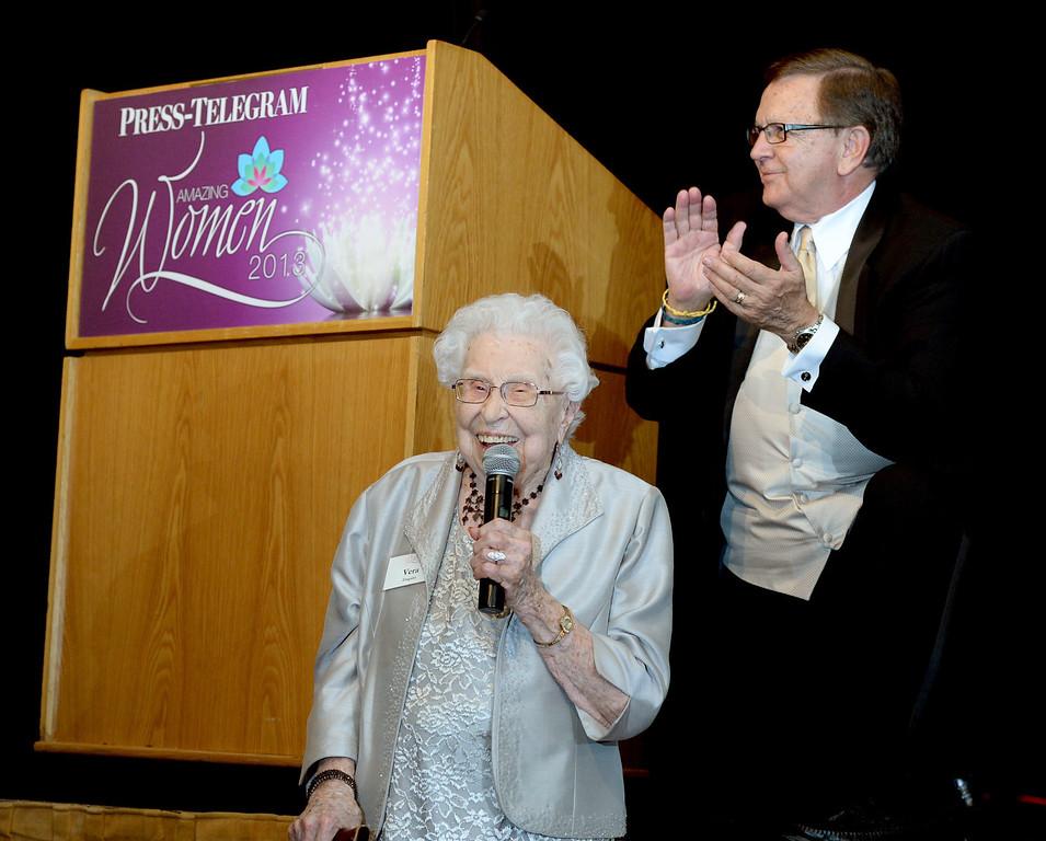 . Vera Enquist receives the lifetime achievement award at the Press Telegram Amazing Women 2013 Gala in Lakewood, CA. on Wednesday, November 13, 2013. (Photo by Sean Hiller/Press Telegram).