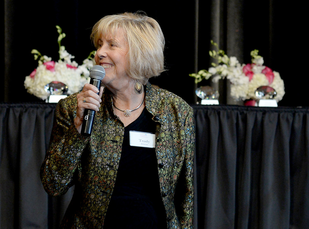 . Trudy Briscoe is honored with a lifetime achievement award at the Press Telegram Amazing Women 2013 Gala in Lakewood, CA. on Wednesday, November 13, 2013. (Photo by Sean Hiller/Press Telegram).