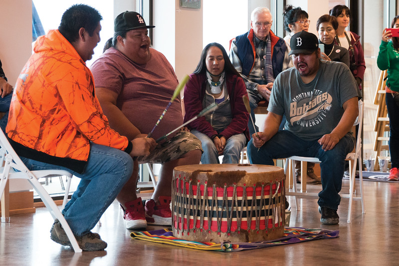 Matthew Gaston   The Sheridan Press<br>The Pound Town drummers from Birney, MT are from left, Jermey Hiwalker, Gregory Calfbossribs, Shandra LaFranier and Brice Lonewolf play and sing traditional Native American songs for Native American Heritage Day at the Brinton Museum Saturday, Sept. 29, 2018.