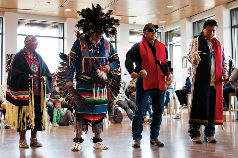 Matthew Gaston   The Sheridan Press<br>From right, Wallace Bearchum, Merlin Crazymule, Donovan Taylor and Mary Jane Goggles dance to celebrate their culture at the Brinton Museum for Native American Heritage Day Saturday, Sept. 29, 2018.