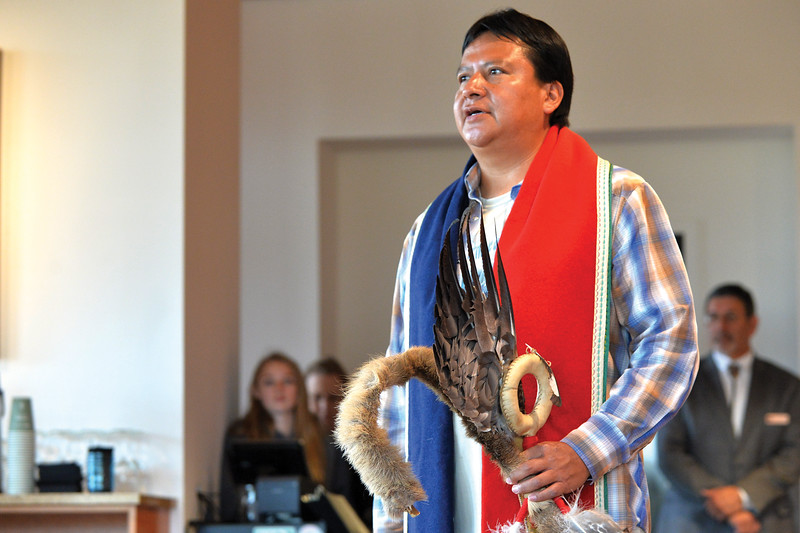 Matthew Gaston   The Sheridan Press<br>Wallace Bearchum delivers a traditional prayer in the native tongue of the Northern Cheyenne to open the Native American Hertiage Day at the Brinton Museum Saturday, Sept. 29, 2018.
