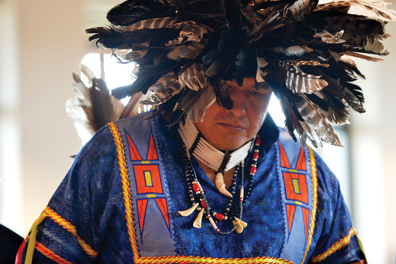 Matthew Gaston   The Sheridan Press<br>Donovan Taylor of the Northern Cheyenne preforms a spirited dance for Native American Heritage Day in full regailia. Saturday, Sept. 29, 2018.