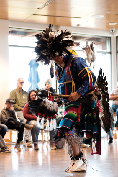 Matthew Gaston   The Sheridan Press<br>Donovan Taylor performs in the traditional garb of a Northern Cheyenne warrior for Native American Hertitage Day at the Brinton Museum Saturday, Sept. 29, 2018.