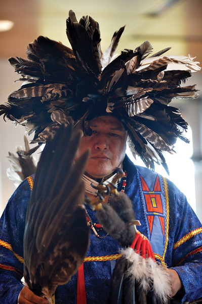 Matthew Gaston   The Sheridan Press<br>The beat of the drum echoed off the walls of the Brinton Museum as Donovan Taylor performed a ceremonial dance of the Northern Cheyenne people Saturday, Sept. 29, 2018.