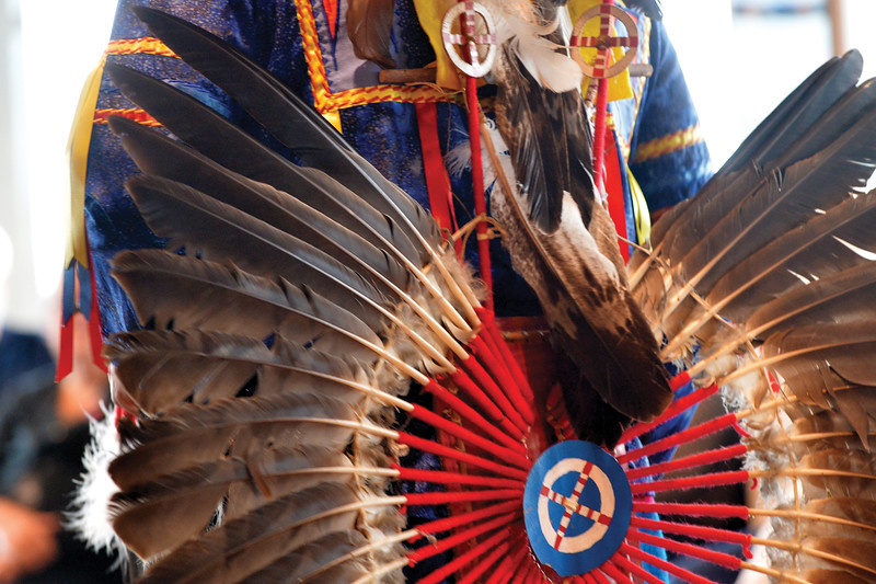 Matthew Gaston   The Sheridan Press<br>The ceremonial regailia wore by the Northern Cheyenne is extremely detailed, brightly colored and crafted by hand. Saturday, Sept. 29, 2018.